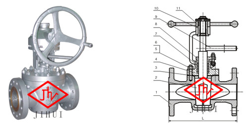 美标提升式旋塞阀结构图